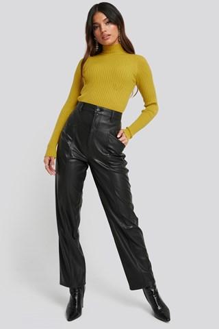 Black Faux Leather Straight Leg Pants