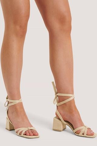 Beige Faux Suede Ankle Strap Heels