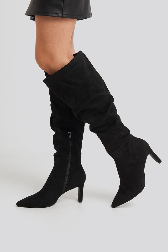 Faux Suede Loose Shaft Boots Black