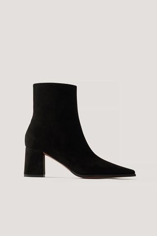 Black Faux Suede Slim Toe Boots