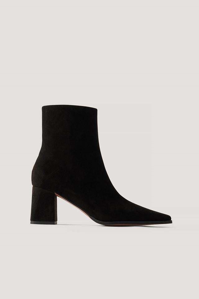 Faux Suede Slim Toe Boots Black