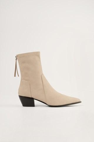 Beige Faux Suede Western Boots