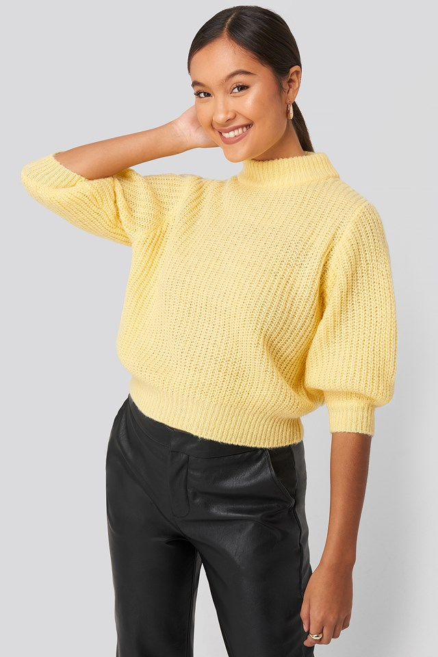 Felicia Wedin Mid Sleeve Knitted Sweater Yellow