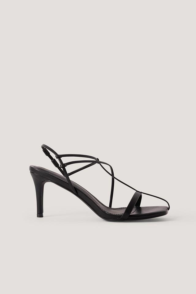 Fine Front Straps Sandals Black