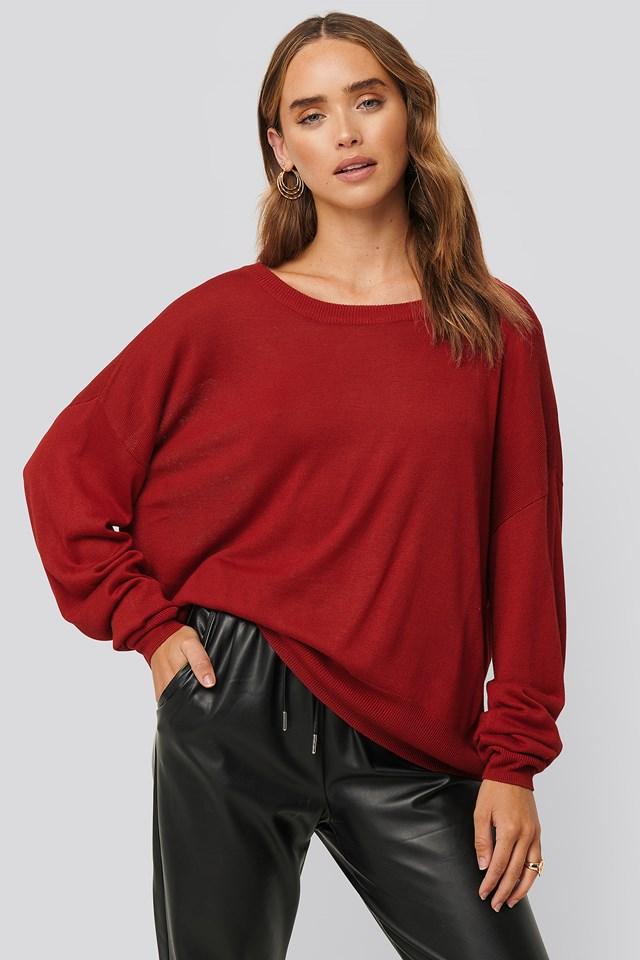 Fine Knit Drop Hem Sweater Dark Red