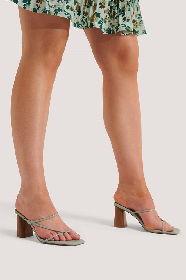Fine Strappy Block Heel Sandals Pastel Green