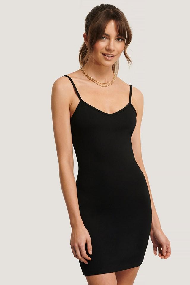 Fitted Mini Dress Black