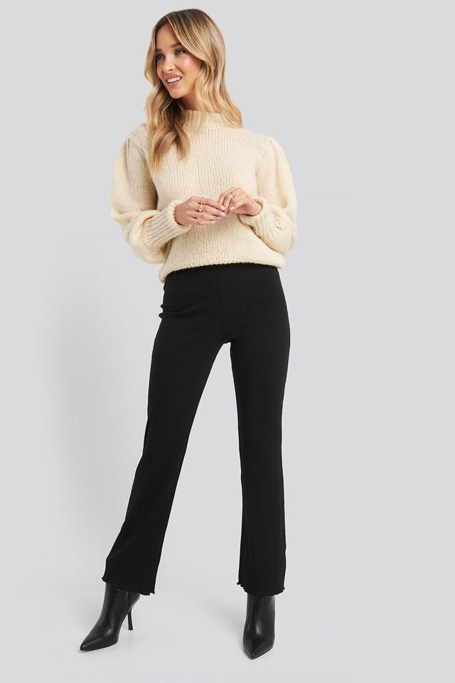 Flare Ribbed Pants Black