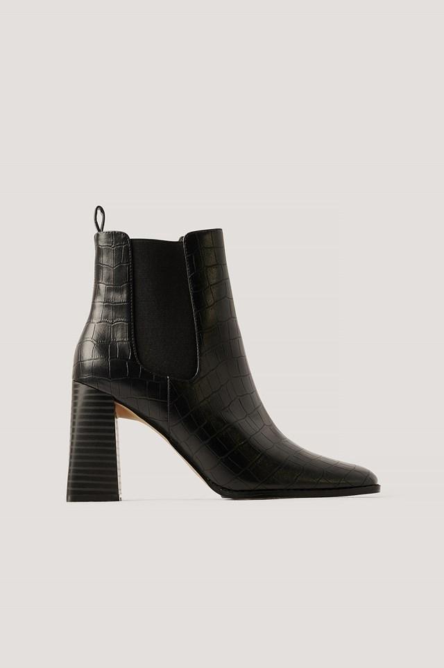 Black Flared Block Heel Boots