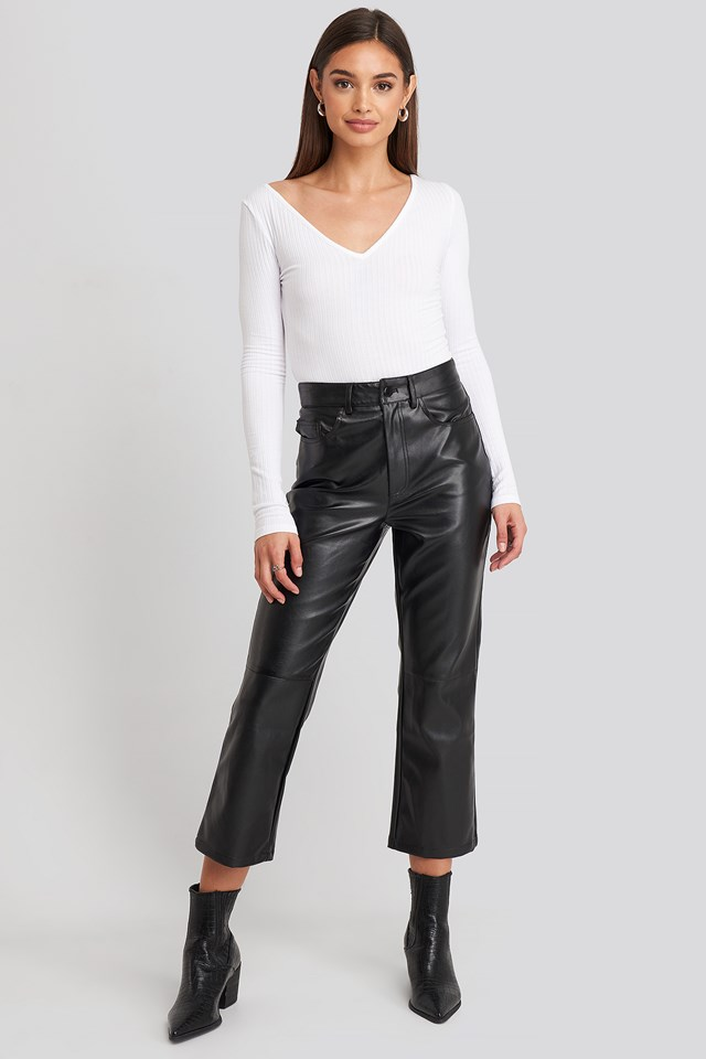 Flared Cropped PU Pants NA-KD Trend