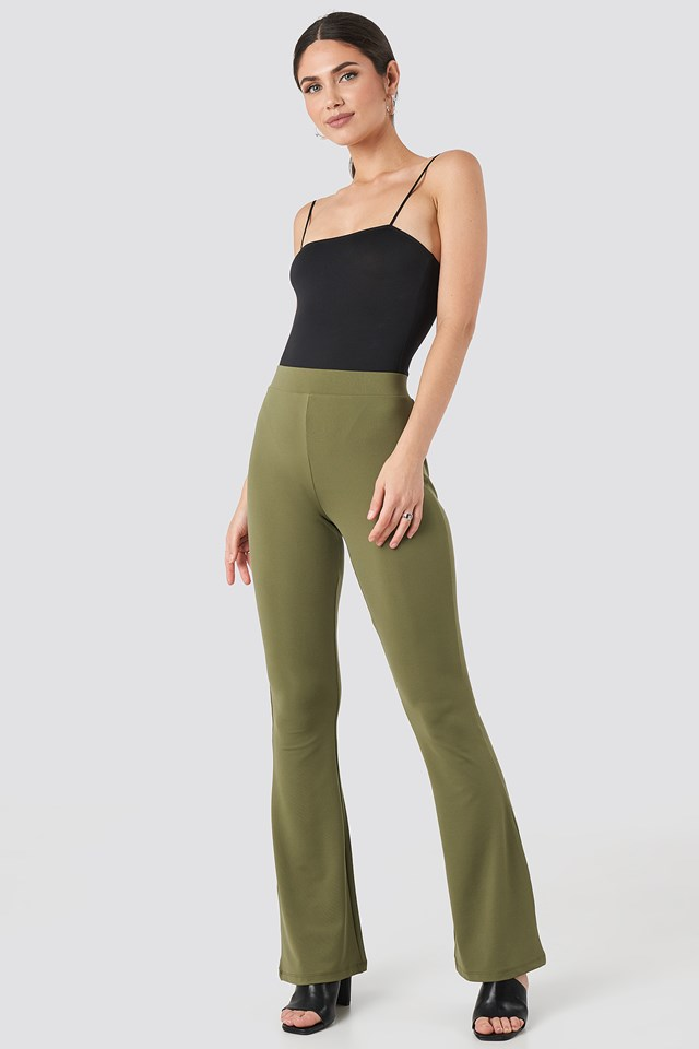 Khaki Flared Leggings