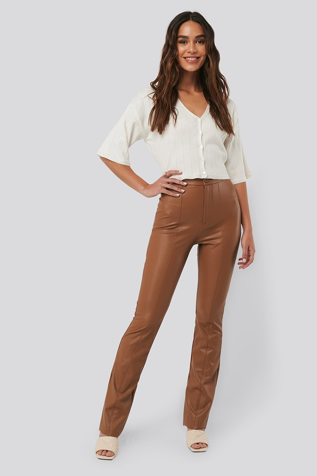 Flared PU Pants Cognac
