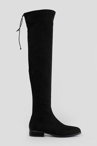 Black Flat Overknee Boots