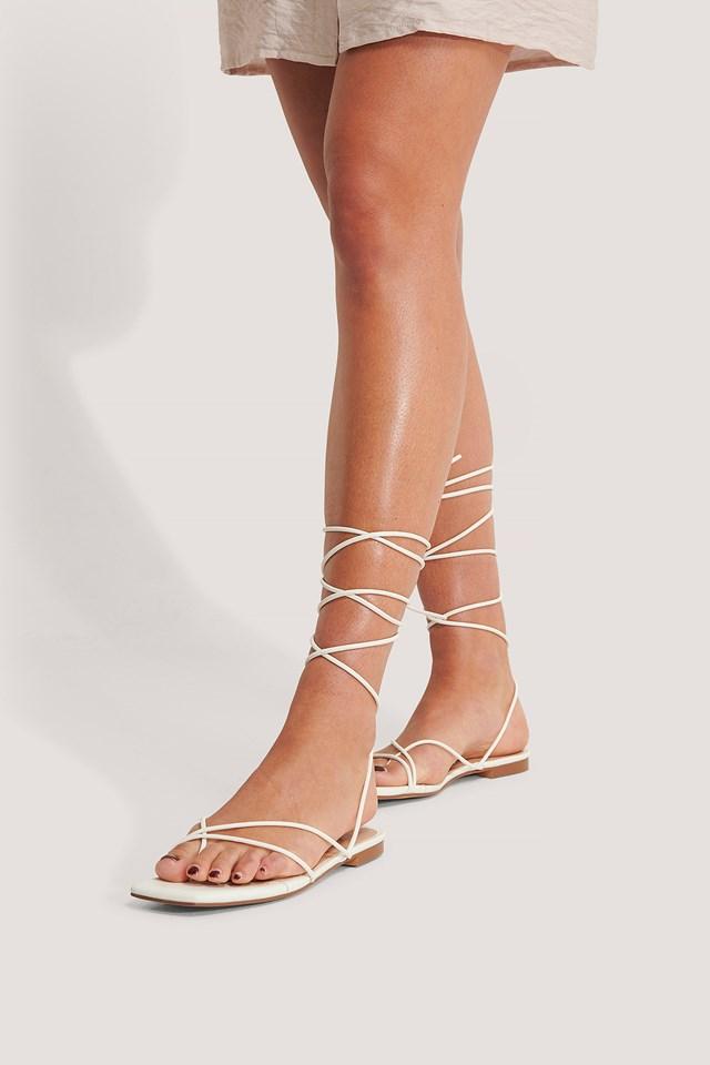 Flat Strap Sandals White