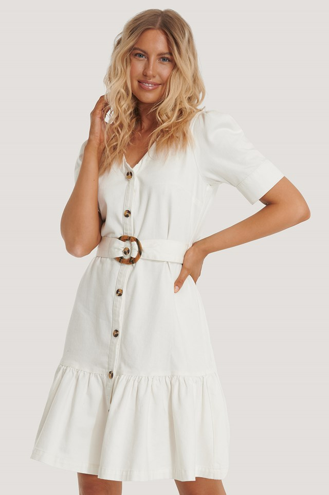 Flounce Belted Denim Dress Offwhite