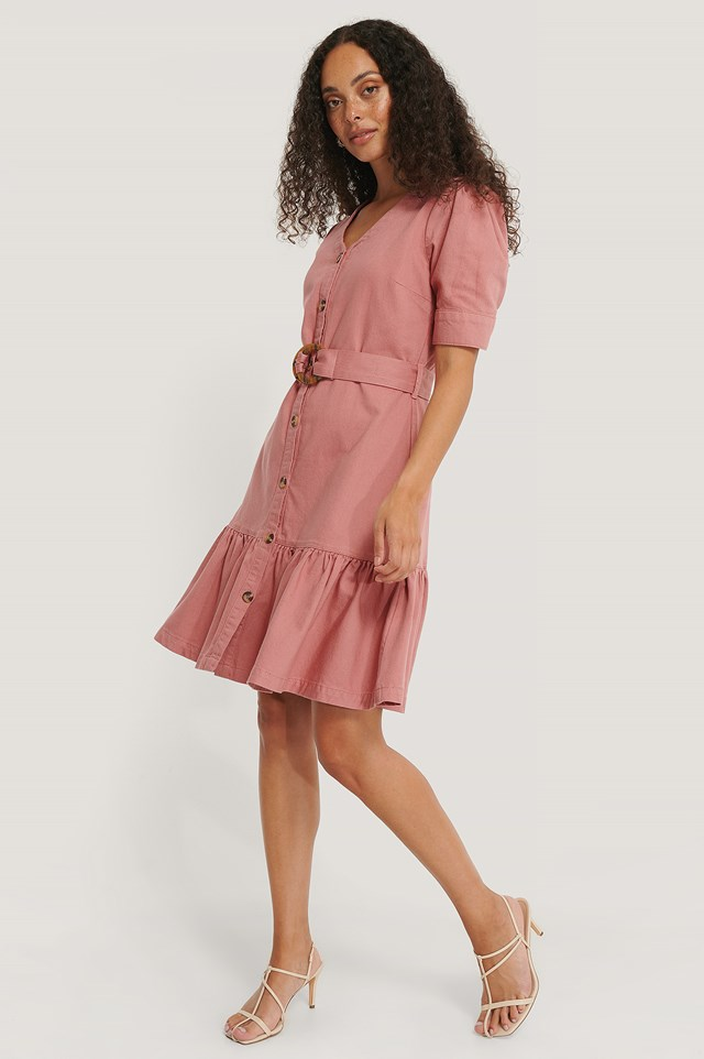 Flounce Belted Denim Dress Washed Dusty Pink