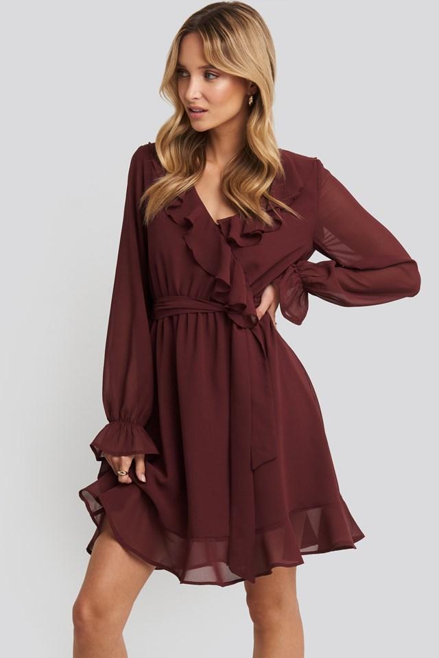 Flounce Chiffon Mini Dress Burgundy