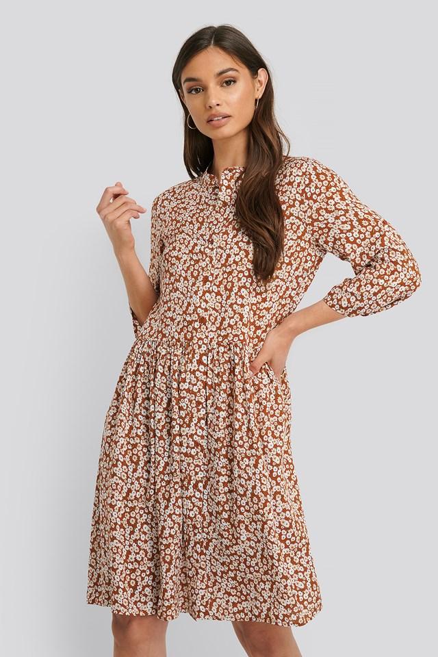 Flounce Detail Flower Dress Rust
