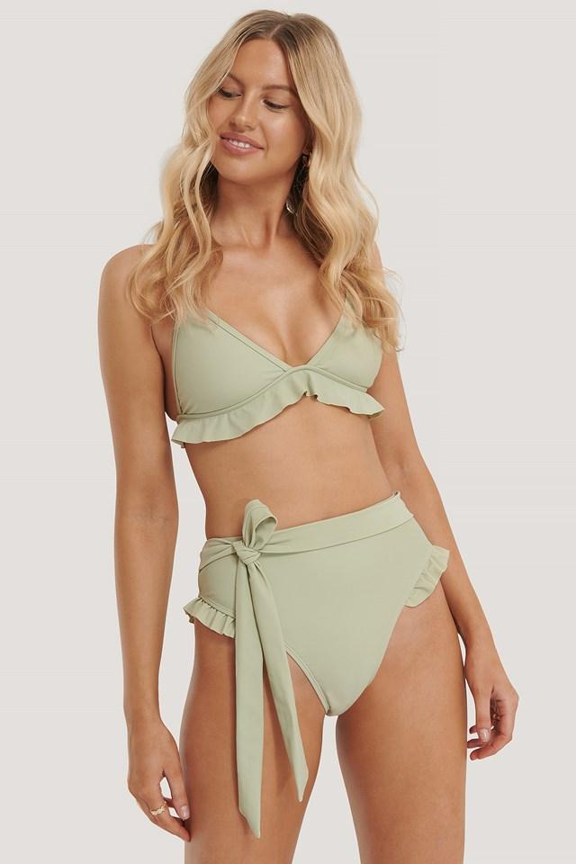 Flounce Detail Highwaist Bikini Panty Light Khaki