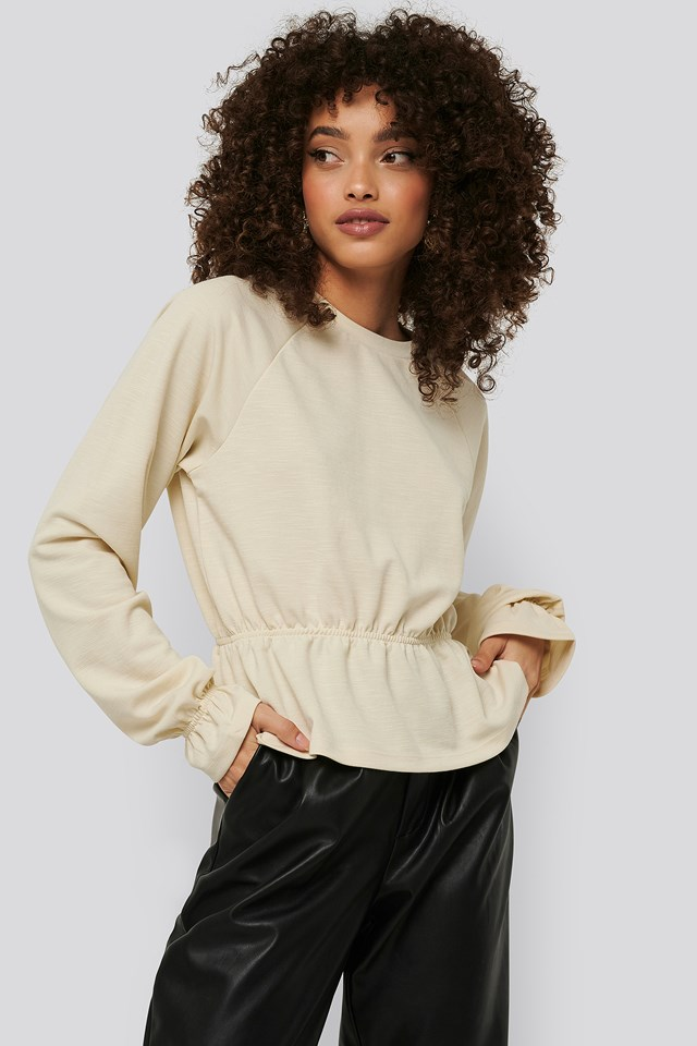 Flounce Detail Jersey Top Offwhite