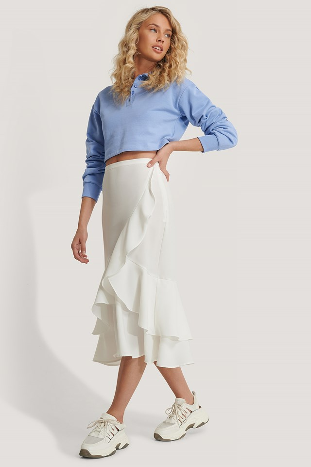 Flounce Midi Skirt Off White