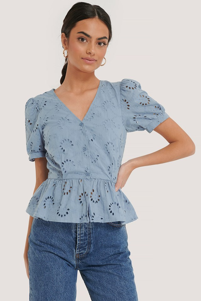 Flower Anglaise Blouse Dusty Blue