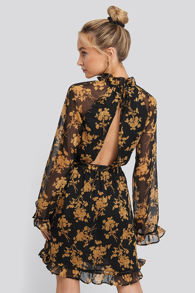 Flower Printed Open Back Mini Dress Black/Flower Print