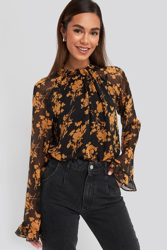Flower Printed Shirred Blouse Black/Flower Print