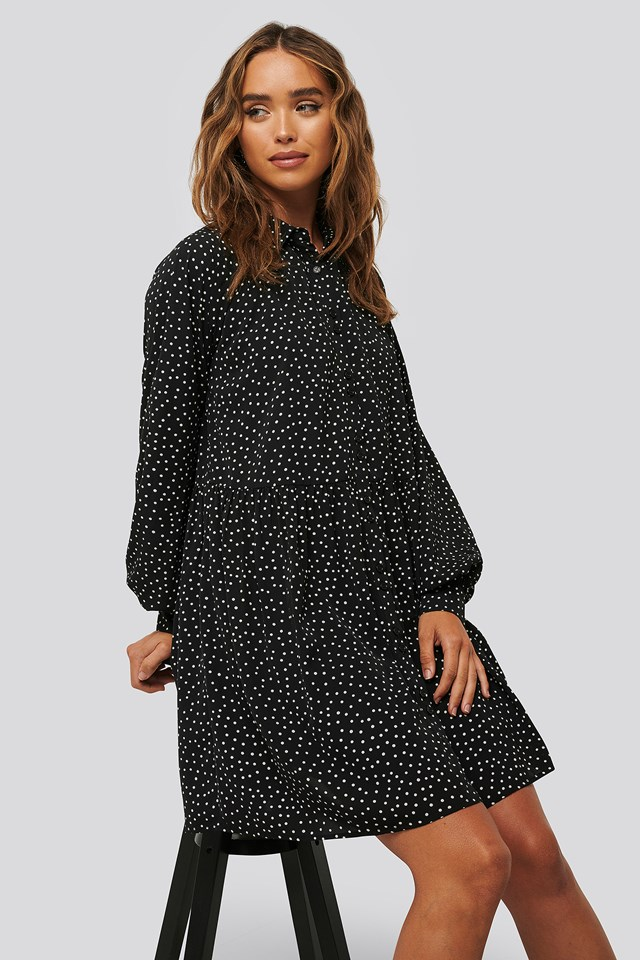Flowy Collar Mini Dress Black/White dots