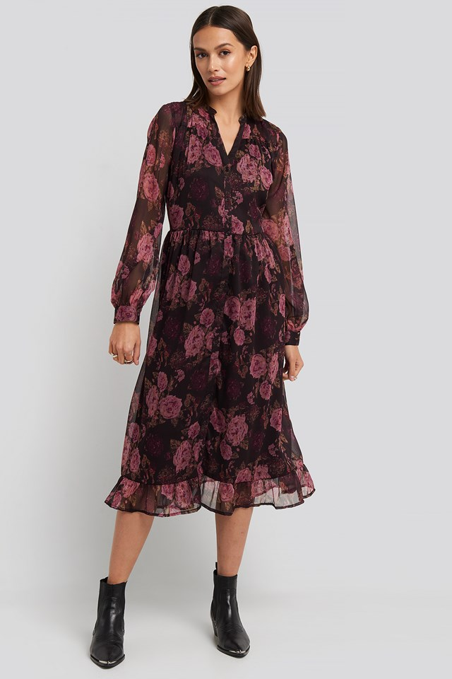 Flowy Midi Flounce Dress Brown/Pink Flowers