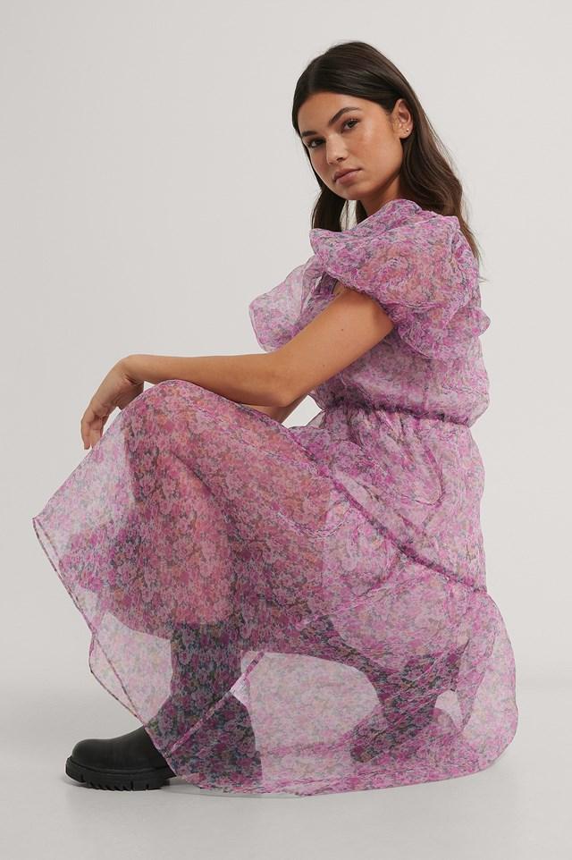 Pink Flower Flowy Printed Organza Dress
