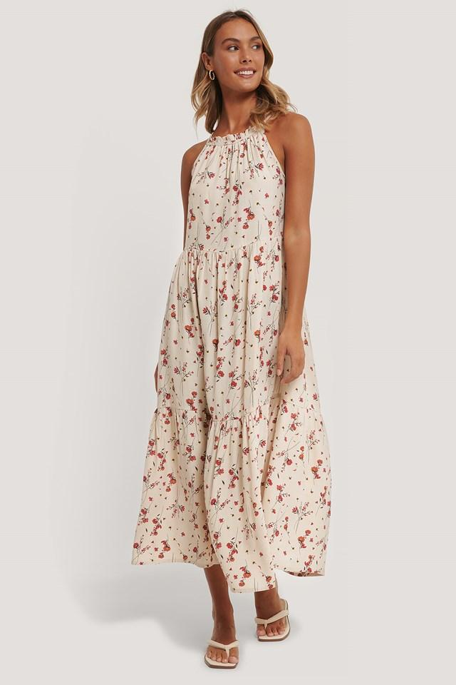 Flowy Sleeveless Dress Flower Print