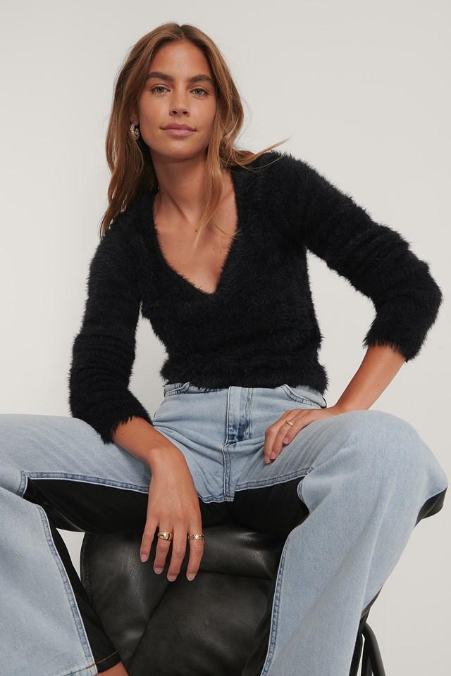 Fluffy Knit Sweater Black