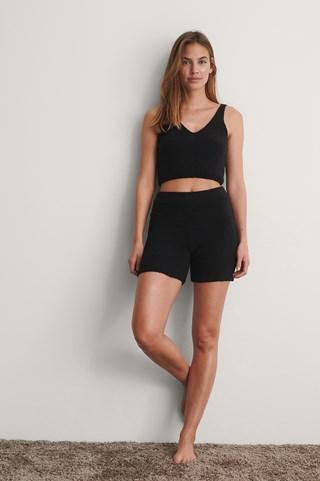 Black Fluffy Mini Shorts