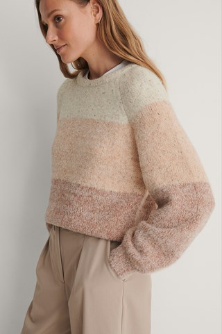 Pink Fluffy Multi Color Knitted Sweater