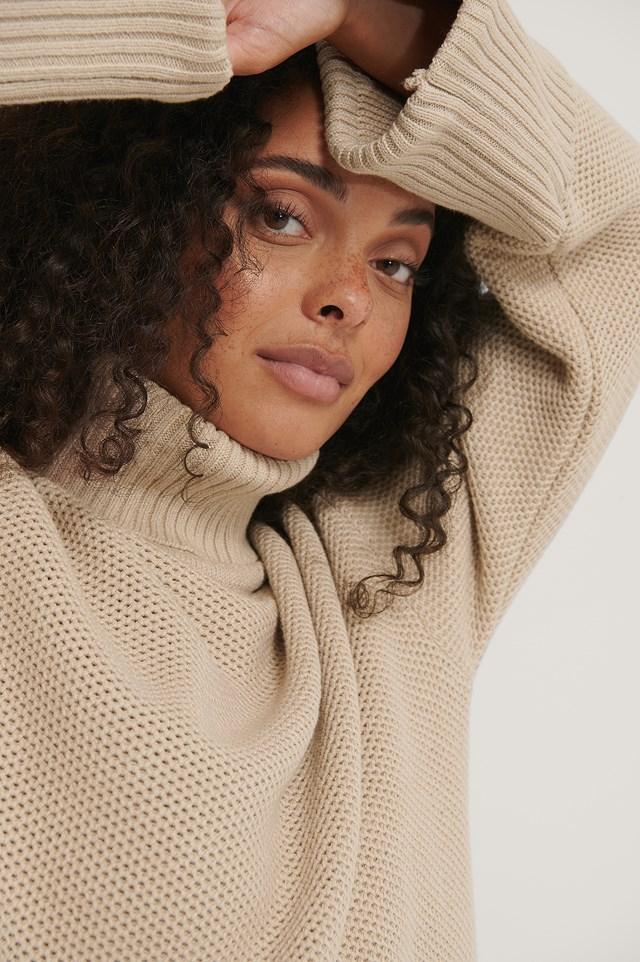 Folded High Neck Knitted Sweater Light Beige