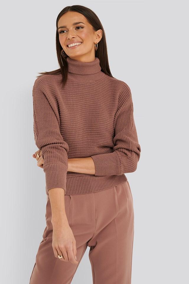Folded Knitted Sweater Dusty Dark Pink