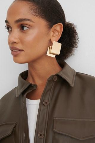 Gold Folded Plate Earrings