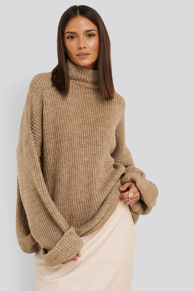 Folded Sleeve Turtle Neck Knitted Sweater Beige
