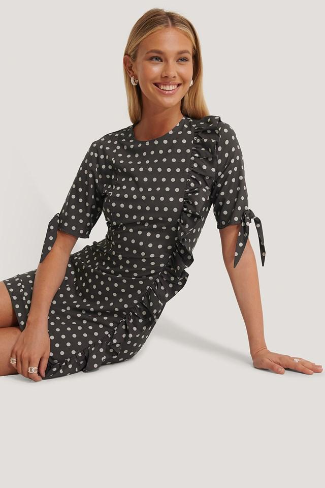 Frill Detail Mini Dress Dots