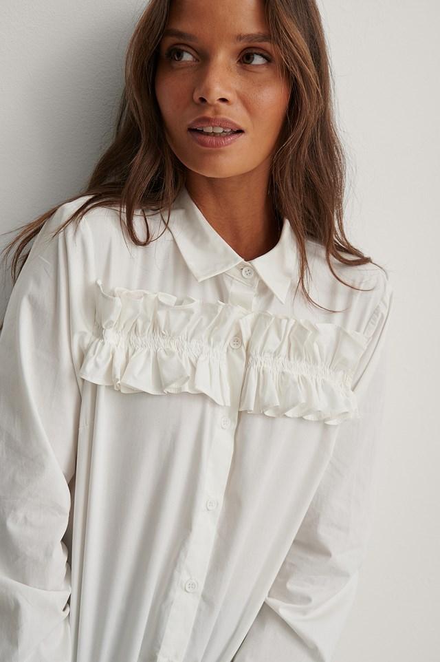 Frill Detail Shirt White