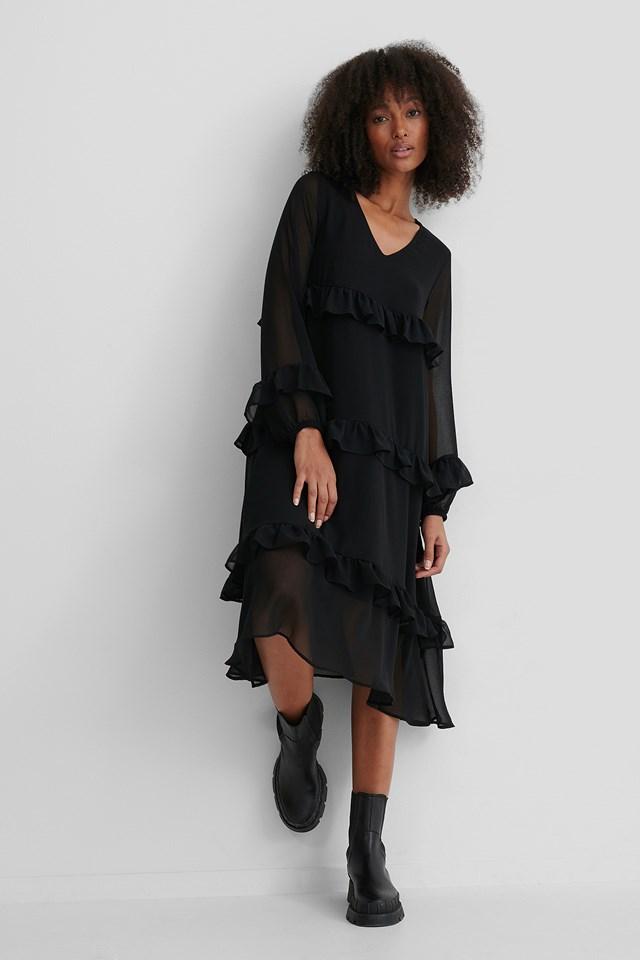 Frill Flowy V-Neck Dress Black