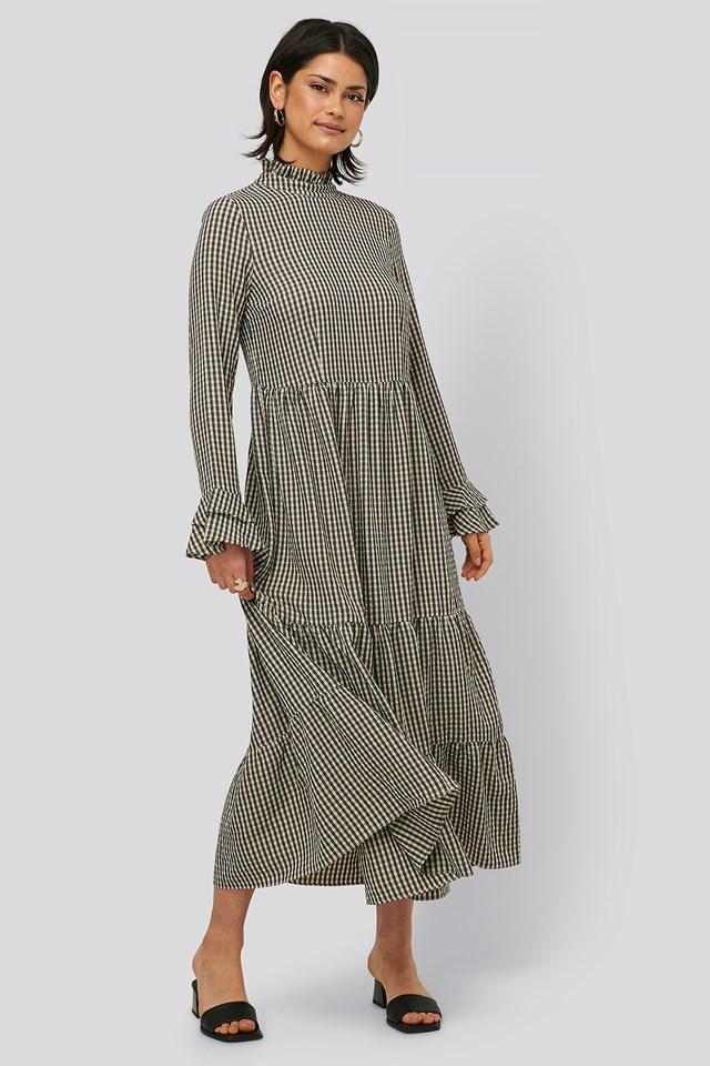 Frill Neck Check Dress beige/Black