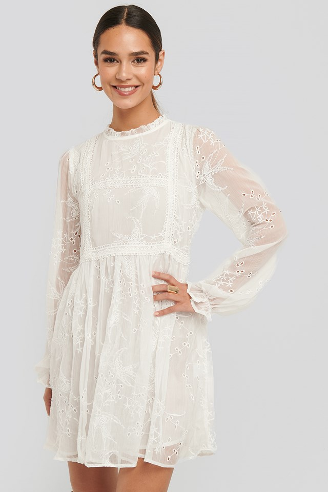 Frill Neck Embroidery Dress White
