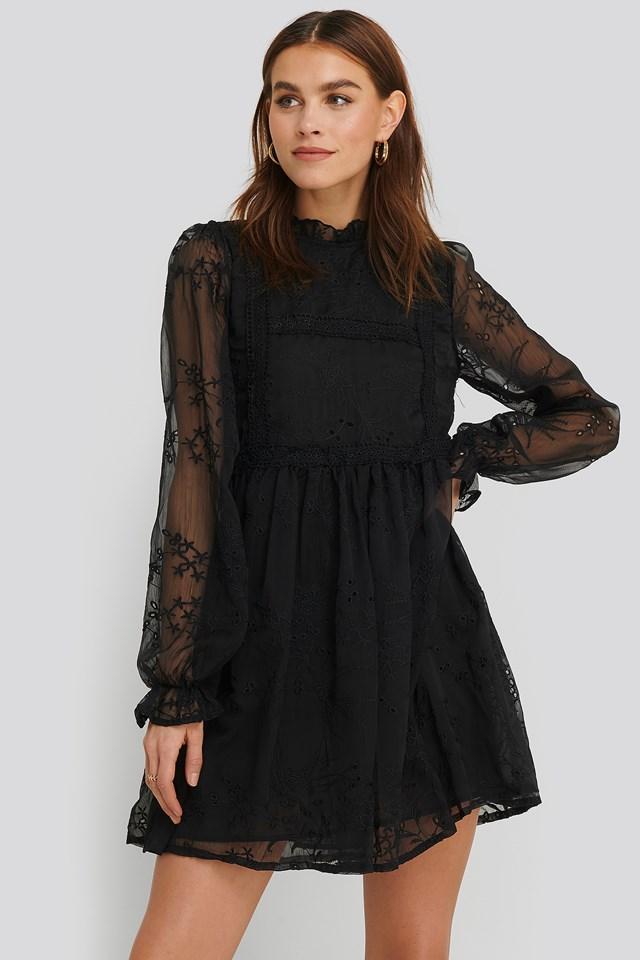 Frill Neck Embroidery Dress Black