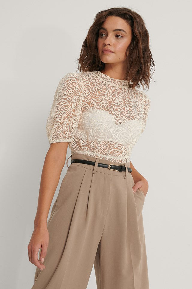 Frill Neck Lace Top Beige