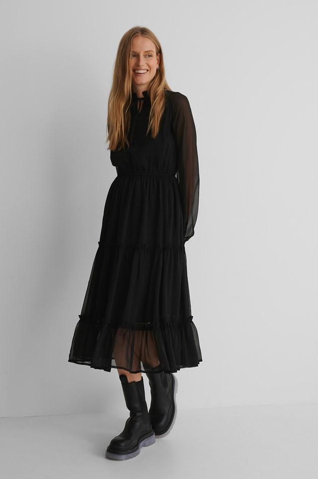 Frill Neck Midi Dress Black
