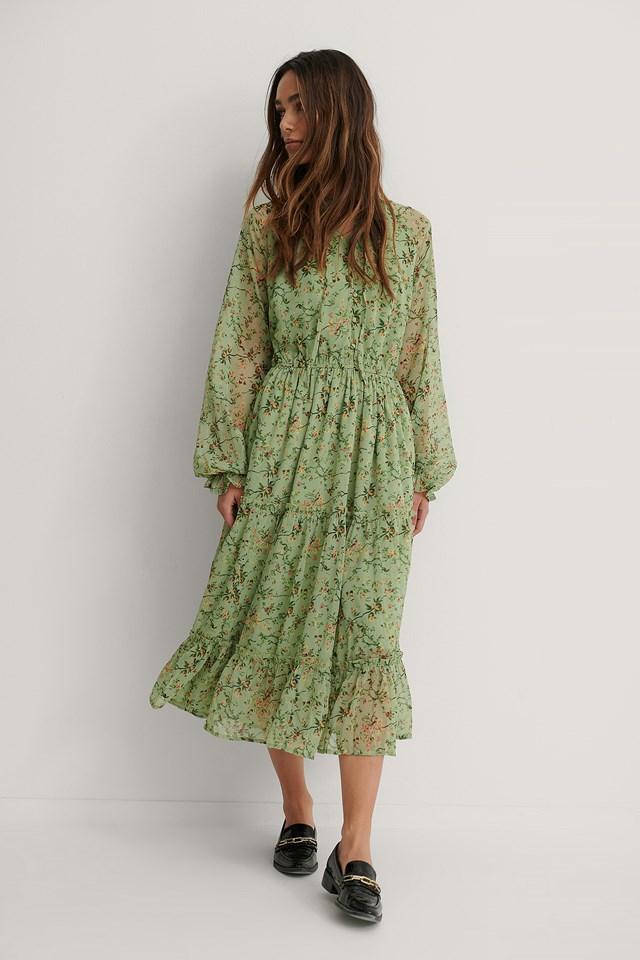 Frill Neck Midi Dress Green Flower