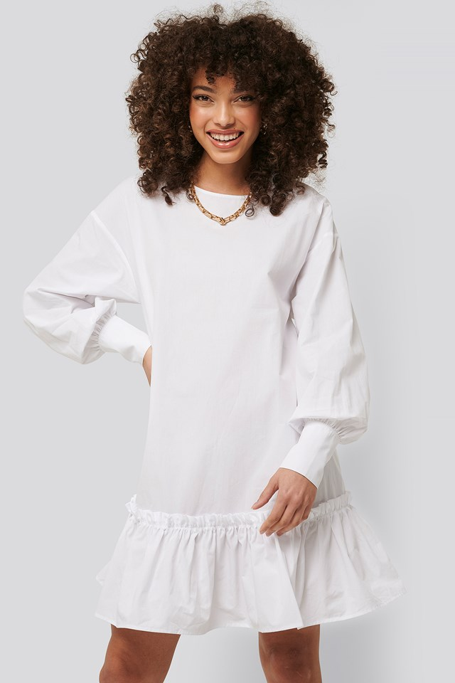 Frilled A-Line Tunic White