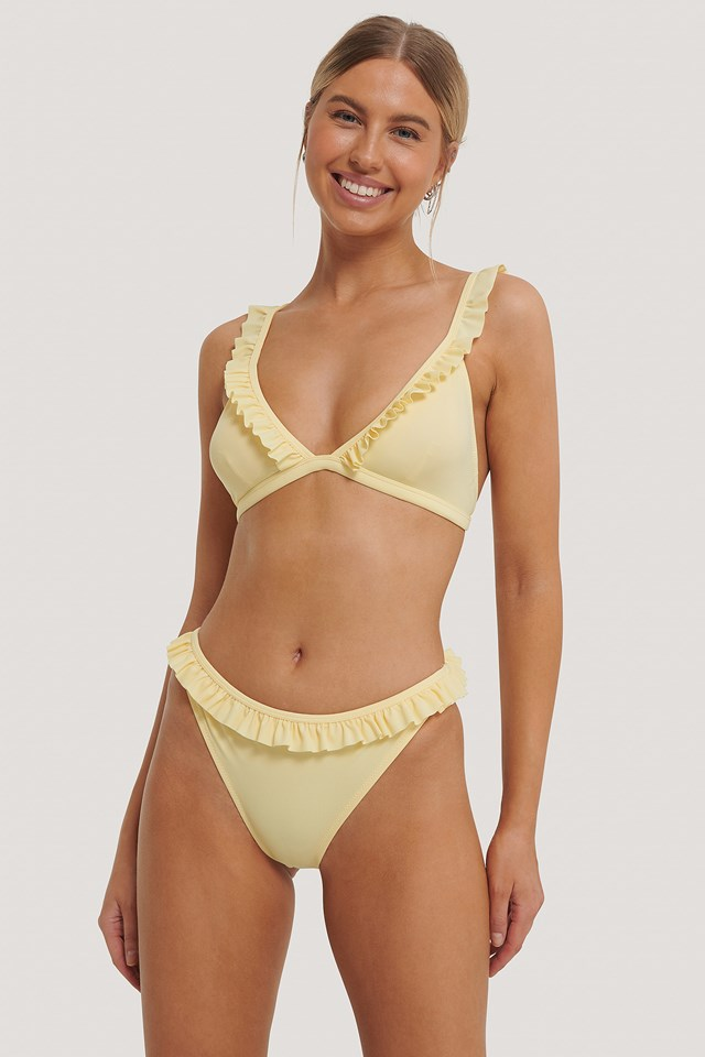 Frill Edge Bikini Bottom Yellow